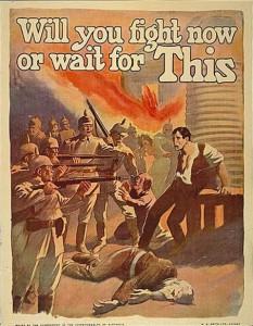 Australian World War I era propaganda cartoon by Norman Lindsay, circa 1918 (certainly between 1914 and 1918). Public Domain